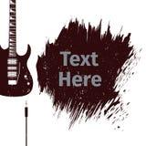 Tarjeta de publicidad con la guitarra Imagen de archivo libre de regalías