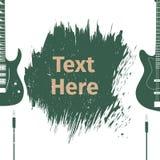 Tarjeta de publicidad con la guitarra Imagenes de archivo