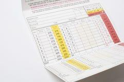 Tarjeta de puntuación Fotografía de archivo