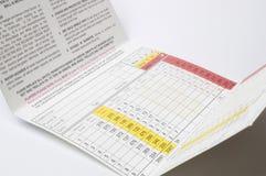 Tarjeta de puntuación imagenes de archivo