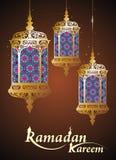 Tarjeta de Ramadan Kareem con la lámpara árabe Fotos de archivo libres de regalías