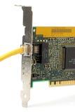 Tarjeta de red con el cable Imagen de archivo