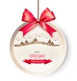 Tarjeta de regalo de vacaciones con un fondo de la Navidad y un arco rojo Fotos de archivo libres de regalías