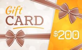 Tarjeta de regalo, vale de regalo - 200 dólares fotografía de archivo libre de regalías