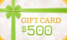 Tarjeta de regalo, vale de regalo - 500 dólares foto de archivo libre de regalías
