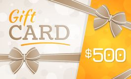 Tarjeta de regalo, vale de regalo - 500 dólares fotografía de archivo