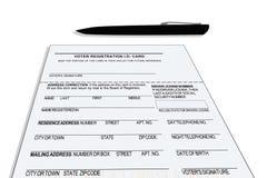 Tarjeta de registro de votantes Imágenes de archivo libres de regalías