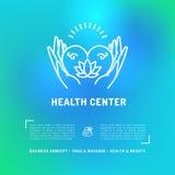 Tarjeta de salud del centro médico, salón de belleza del aviador, estudio del masaje del balneario stock de ilustración