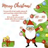 Tarjeta de Santa Claus Christmas con el árbol y los regalos Foto de archivo libre de regalías