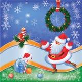 Tarjeta de Santa con la decoración 03 de la Navidad Foto de archivo libre de regalías