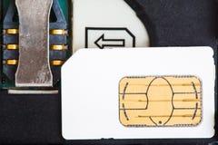 Tarjeta de Sim con el zócalo del teléfono móvil Fotografía de archivo libre de regalías