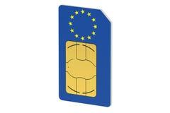Tarjeta de SIM con la bandera de la unión europea ilustración del vector