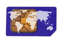 Tarjeta de Sim con la correspondencia de mundo Foto de archivo libre de regalías