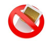 Tarjeta de SIM con la muestra prohibida Imagen de archivo