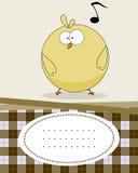 Tarjeta de texto con el pollo del bebé Imagen de archivo libre de regalías