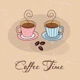 Tarjeta de tiempo del café Imágenes de archivo libres de regalías