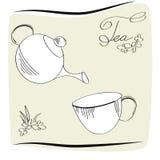 Tarjeta de tiempo del té Fotos de archivo