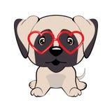 Tarjeta de un día de la tarjeta del día de San Valentín s Perro del barro amasado en una rebeca rayada, en vidrios de la diversió ilustración del vector