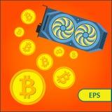 Tarjeta de vídeo del gráfico de la explotación minera de Bitcoin Cryptocurrency Fotos de archivo libres de regalías