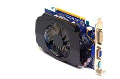 Tarjeta de vídeo en un fondo blanco, hardware de PC Imagen de archivo