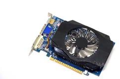 Tarjeta de vídeo en un fondo blanco, hardware de PC Foto de archivo