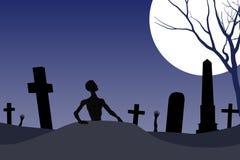 Tarjeta de Víspera de Todos los Santos del cementerio del zombi Imágenes de archivo libres de regalías