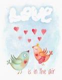 Tarjeta de Valentine Day de la acuarela con los pares de los pájaros ilustración del vector