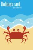 Tarjeta de verano con el cangrejo Fotografía de archivo