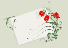 Tarjeta de verano con las amapolas stock de ilustración