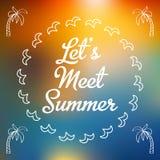 Tarjeta de verano de la invitación con las palmas Fotos de archivo