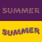 Tarjeta de verano de pequeñas bolas coloreadas multi Fotografía de archivo libre de regalías