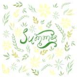 Tarjeta de verano del vector de la acuarela con las hojas y las flores del verde Foto de archivo
