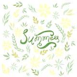 Tarjeta de verano del vector de la acuarela con las hojas y las flores del verde Fotografía de archivo libre de regalías