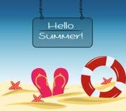 Tarjeta de verano del vector hola Fotos de archivo