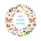Tarjeta de verano en la guirnalda floral de la forma en el fondo blanco ilustración del vector