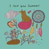 Tarjeta de verano Ilustración del vector Fotos de archivo