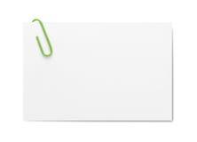 Tarjeta de visita con el clip de papel Imágenes de archivo libres de regalías