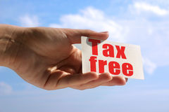 Tarjeta de visita con la inscripción exenta de impuestos Fotos de archivo libres de regalías