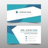 Tarjeta de visita corporativa azul del triángulo, plantilla de la tarjeta de presentación, plantilla limpia simple horizontal del