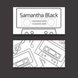 Tarjeta de visita de doble cara con los contornos de las cintas magnéticas para audio Fotos de archivo libres de regalías