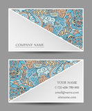 Tarjeta de visita de la plantilla del vector Ornamento colorido del doodle Imagen de archivo libre de regalías