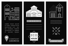 Tarjeta de visita de las plantillas con las casas Imagen de archivo libre de regalías