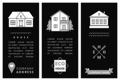 Tarjeta de visita de las plantillas con las casas Imagen de archivo