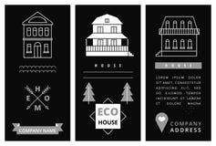 Tarjeta de visita de las plantillas con las casas Imágenes de archivo libres de regalías