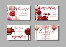 Tarjeta de visita del artista de maquillaje Plantilla del vector con el esmalte de uñas del modelo de los artículos del maquillaj imagen de archivo
