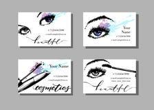 Tarjeta de visita del artista de maquillaje Vector la plantilla con el modelo de los artículos del maquillaje - con los ojos y el fotografía de archivo