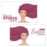 Tarjeta de visita del estudio del pelo de la belleza con una imagen de una muchacha hermosa con el pelo que se convierte Espacio  Imagen de archivo