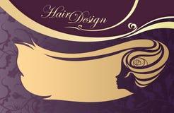 Tarjeta de visita del salón de la peluquería. perfil de la mujer ilustración del vector