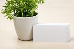 Tarjeta de visita en blanco blanca Escritorio de la tabla de la oficina con el sistema de fuentes coloridas, taza, pluma, lápices Imagen de archivo libre de regalías
