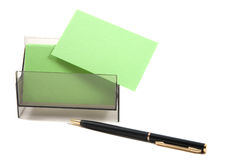 Tarjeta de visita en blanco verde en un rectángulo Imagen de archivo libre de regalías